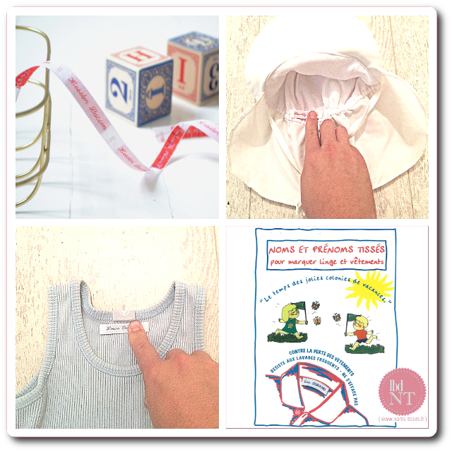 Etiquettes marque-vêtements colonies, centres de vacances
