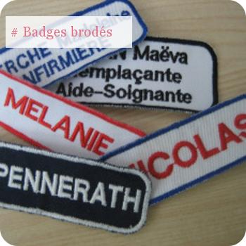 Badges nominatifs personnalisés brodés